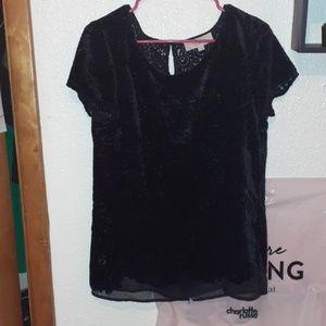 Black Velvet/Mesh Shirt NWOT